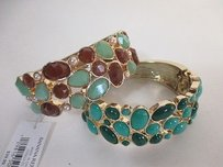 Ann Taylor Banana Republic Brown Teal Green Cabochon Gold Cuff Bracelet Set Of