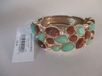 Ann Taylor Banana Rrepublic Brown Teal Cabochon Gold Heavy Cuff