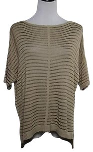 Ann Taylor Womens Beige Striped Boat Neck Cotton Knit Short Sweater