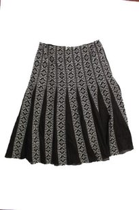 Ann Taylor Womens Embroidered Fixed Box Pleated Skirt Brown,white