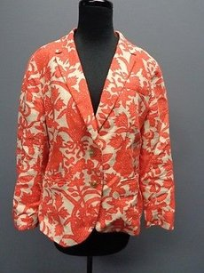 Ann Taylor LOFT Ann Taylor Loft Orange And Cream Long Sleeved Button Down Blazer Sm9121