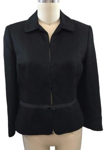 Ann Taylor LOFT Ribbon Bow Waist Detail Linen Black Jacket