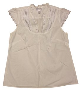 Ann Taylor LOFT Embroidered Classic Preppy Top WHITE