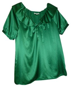 Ann Taylor Loft Holiday Satin Ruffle Top Green