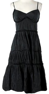 Black Silk Maxi Dress by Ann Taylor LOFT Tiered Fit & Flare