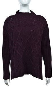Ann Taylor LOFT Womens Wine Mockneck Cable Knit Sweater
