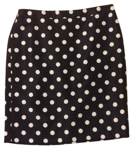 Ann Taylor LOFT Pencil Back-zip Back-slit Fully-lined Skirt navy w/ white dots
