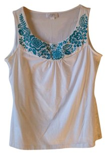 Ann Taylor LOFT Sleeveless Embroidered Blue Turquoise Medium Summer Blouse Top White