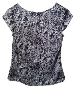 Ann Taylor LOFT Top BLACK GRAY WHITE SWIRL PRINT SATIN TOP BLOUSE 4