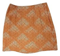 Ann Taylor Geometric Print Casual Sma3929 Mini Skirt Orange And Yellow