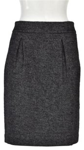 Ann Taylor Womens Metallic Pencil Wtw Below Knee Wool Blend Skirt Black