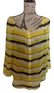 Ann Taylor Top Yellow, Navy
