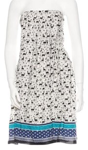 Anna Sui short dress White, Black, Blue Strapless Print Pleated on Tradesy