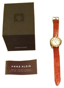 Anne Klein Brown Leather and Gold Watch