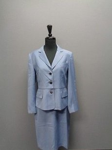 Anne Klein Anne Klein Blue Skirt Suit W Stitching And Buttons Polyester Blend Sm2467