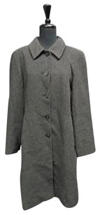 Anne Klein Charcoal Wool Blend Lined Button Down Full Length 2745a Coat