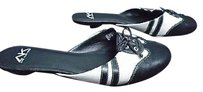 Anne Klein Sport N Leather Casual Slip On Kitten Heels B3550 Black And White Pumps