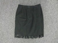 Anne Klein Ii Fringed Lined Wool Blend Above Knee Sma6532 Skirt Black