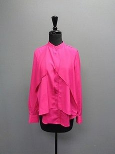 Anne Klein Button Up Long Sleeve Polyester Sma3308 Top Pink