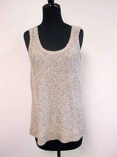 Anne Klein Tan Silver Metallic Scoop Neck Sleeveless X237 Sweater