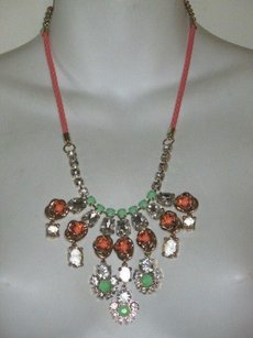 Anthropologie Anthropolgie Peach Mint Stone Crystal Braided Fan Necklace