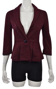 Anthropologie Tabitha Womens Red Blazer Textured Striped 34 Sleeve Wtw Jacket