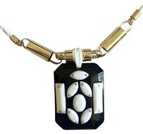 Anthropologie Anthropology Black And White Resin/Leather Necklace