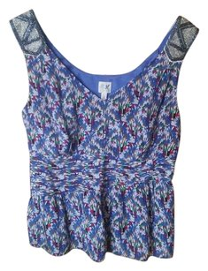 Anthropologie Beaded Edme & Estylle Top Blue
