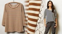 Anthropologie Lace Inserts Brown & Ivory Striped T Shirt Brown Motif