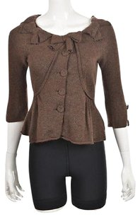 Anthropologie Charlie Amp Robin Womens Brown Cardigan Speckled Wool Casual Sweater