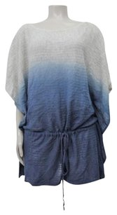 Anthropologie Rosie Neira Ombre Blue White Poncho Style Open Knit Ml Sweater
