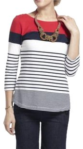 Anthropologie One.september Boatneck Color Block Top Blue/red/white