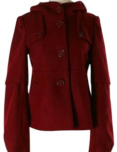 Anthropologie Red Wool Pea Coat