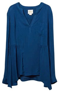 Anthropologie Silky Soft Hanky Hem Front Pocket Top Blue