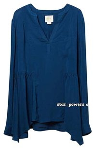 Anthropologie Silky Soft Hanky Hem Top Blue