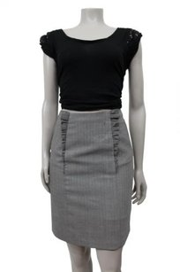 Anthropologie Girls From Savoy Just Right 0 Wool Pencil Herringbone Skirt gray