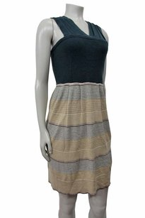 Anthropologie short dress blue beige multi Knitted Knotte Shimmer on Tradesy