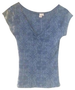 Anthropologie V-neck Floral Short Sleeve Top Blue