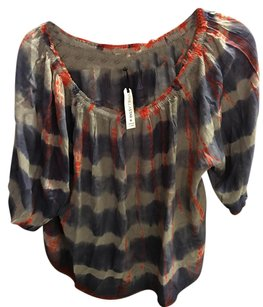 Anthropologie Top Blue Red Grey