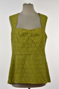 Anthropologie Girls From Savoy Womens Floral Lace Casual Shirt Top Lime Green