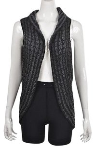 Anthropologie Sleeping Womens Charcoal Vest Sm Wool Cardigan Sweater