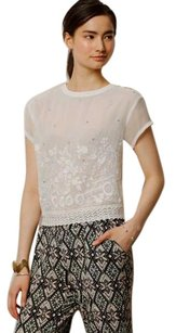 Anthropologie Embellished T Shirt White