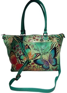 Anuschka Handpainted Green Multi Butterfly Leather Convertible Crossbody Tote in Multi-Color