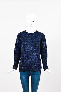 A.P.C. Navy Wool Blend Metallic Sweater