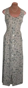 NATURAL FLAX + BIRD PRINT Maxi Dress by April Cornell New + Tag Org $149 To Sell Pockets Skirt Sz 6 Small
