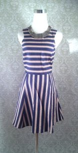 Aqua short dress Blue Designer Striped on Tradesy