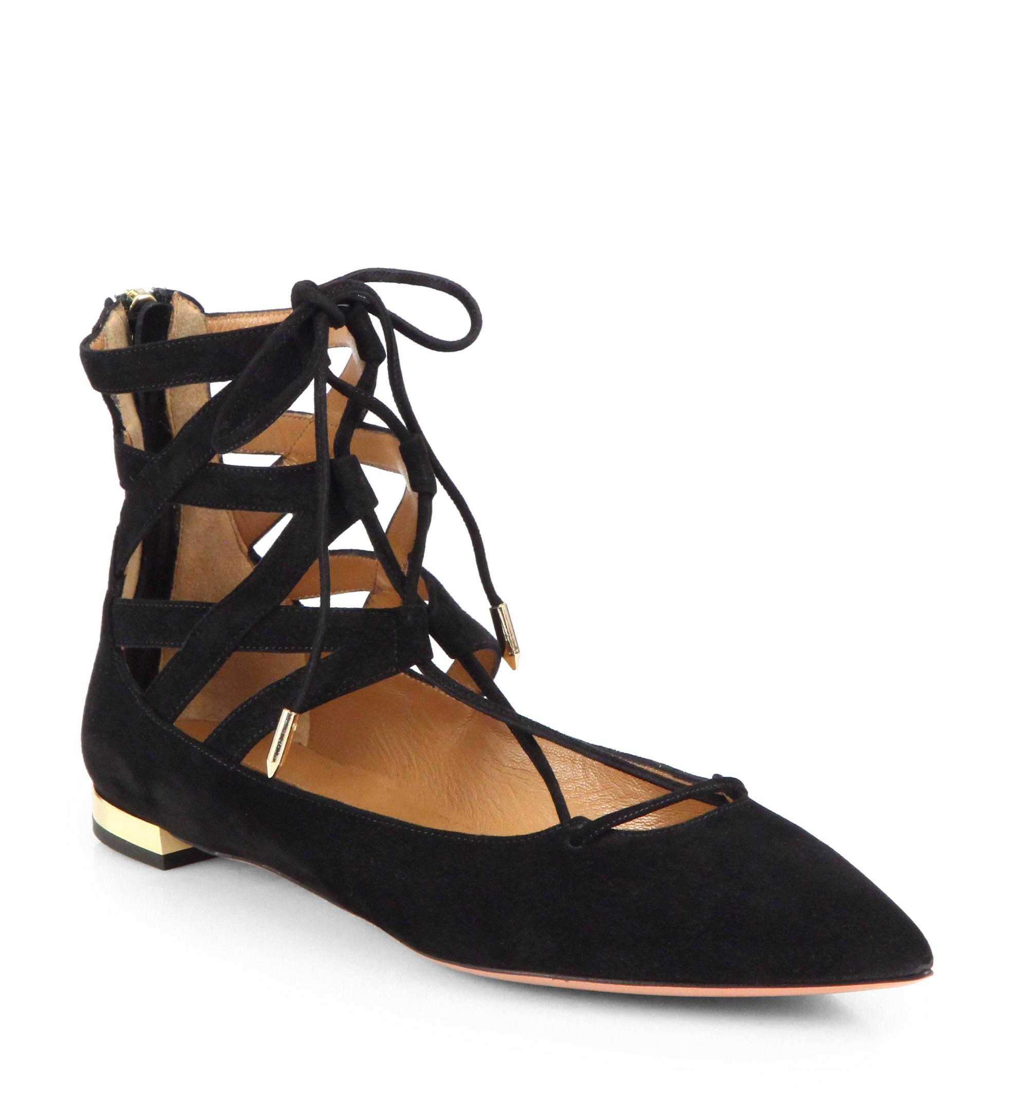 clearance view Aquazzura Belgravia Leather Flats buy cheap footaction discount reliable free shipping 100% guaranteed discount shopping online HAzY8951w