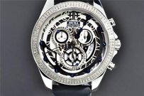 Arctica Arctica Diamond Watch Mens White Black Dial Row Bezel 1.5ct Date Chronograph