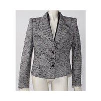 Armani Collezioni Armani Collezioni Black White Tweed Grosgrain Peak Lapel Jacket Hs808