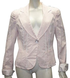 Armani Collezioni Armani Collezioni Pink White Cotton Silk Blend Striped Blazer Hs677